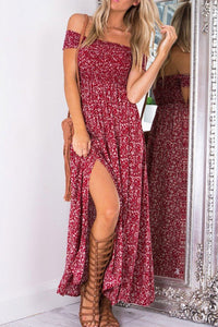 Off Shoulder Slit Printed Maxi Dresses - lolabuy