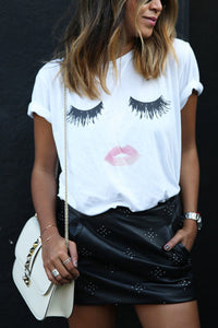 Round Neck Lips Printed Short Sleeve T-Shirts - lolabuy