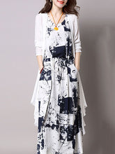 Casual Drawstring Printed Two-Piece Maxi Dress - lolabuy