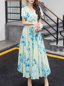 Summer V-Neck Floral Printed Chiffon Maxi Dress - lolabuy