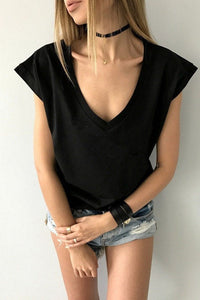 V Neck  Loose Fitting  Plain T-Shirts - lolabuy
