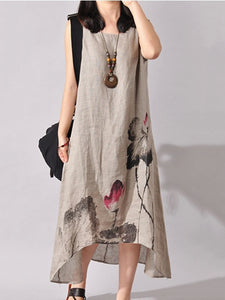 High-Low Round Neck Printed Maxi Dress - lolabuy