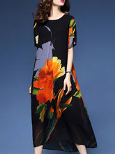 Trendy Floral Printed Round Neck Maxi Dress