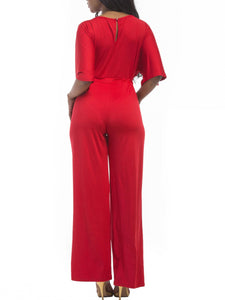 Boat Neck Drawstring Plain Pocket Wide-Leg Jumpsuit - lolabuy