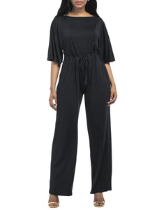 Round Neck Drawstring Plain Wide-Leg Jumpsuit