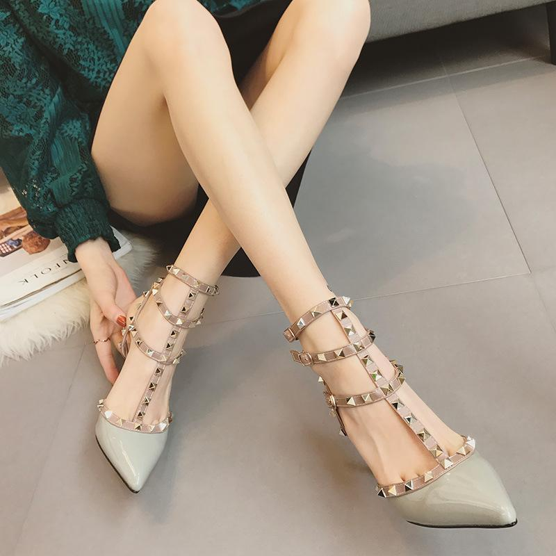 Fashion Women Rivets 9Cm High Heel Shoes - lolabuy