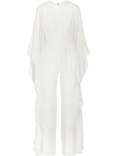 Solid Cape Sleeve Hollow Out Chiffon Wide-Leg Jumpsuit - lolabuy