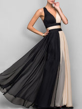 Deep V-Neck  Color Block  Chiffon Evening Dress - lolabuy