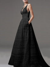 Deep V-Neck Hollow Out Plain Lace Wedding Evening Dress