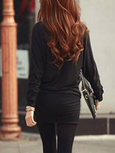 Sexy Round Neck Batwing Mini Bodycon Dress - lolabuy