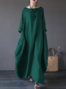 Oversized Round Neck No Pocket Plain Maxi Dress - lolabuy