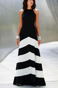 Striped Stitching Slim Sexy Evening Dress - lolabuy