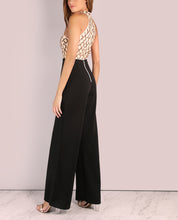 Sexy Hanging Neck Splicing Flared Jumpsuit - lolabuy