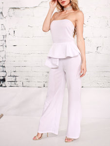 Sexy Stitching Solid Color Sleeveless Jumpsuit