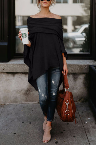 Off Shoulder  Asymmetric Hem  Plain T-Shirts - lolabuy