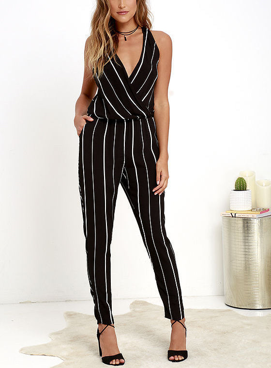 Sexy Deep V Collar Halter Strip Jumpsuit - lolabuy