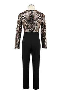 Sexy Deep V Collar Sequin Splicing Jumpsuit - lolabuy