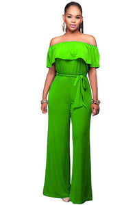 Plus Size Cutaway Collar Lotus Jumpsuit With Belt - lolabuy