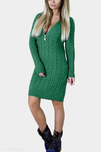 Deep V Neck  Zipper  Plain Sweater Bodycon Dresses - lolabuy