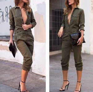 Army Green Fashion Lapel Jumpsuit - lolabuy