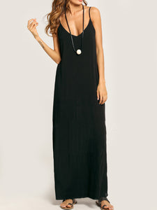Summer Spaghetti Strap Pocket Plain Maxi Dress - lolabuy