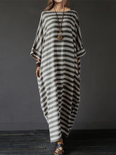 Oversized Striped Round Neck Pocket Maxi Dress - lolabuy