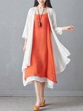 Round Neck  Asymmetric Hem  Color Block Two-Piece Maxi Dress - lolabuy