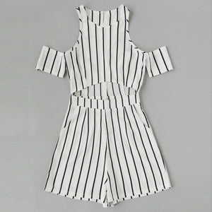 Black/White Stripe Casual Vacation Jumpsuit - lolabuy