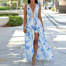 Deep V Sleeveless Printed Beach Dress - lolabuy
