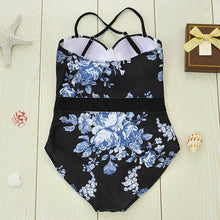 Black Floral One-Piece Swimsuit - lolabuy