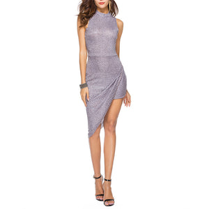 Knit Slim Irregular Bodycon Vacation Dress - lolabuy