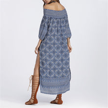 Cutaway Collar Printed Sexy Vacation Dress - lolabuy