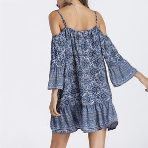 Loose V-Neck Strap Printed Vacation Dress - lolabuy