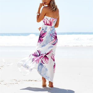 Sexy Slim Split Chest Wrapped Vacation Dress - lolabuy