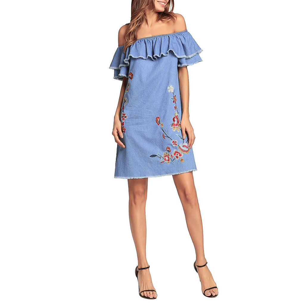 Cutaway Collar Denim Loose Embroidery Vacation Dress - lolabuy