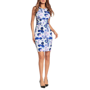 Printed Slim Sexy Package Hip Vacation Dress