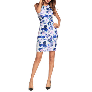 Printed Slim Sexy Package Hip Vacation Dress - lolabuy