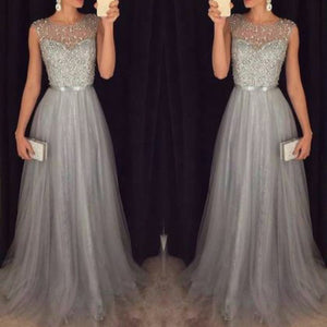 Chiffon Sleeveless Sequined Evening Wedding Dress - lolabuy