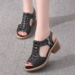 Plain  Chunky  Mid Heeled  Faux Leather  Casual Sandals