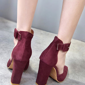 Suede Thick Heels Wedding Party Shoes - lolabuy