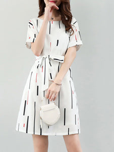 Round Neck  Belt  Printed Skater Dress - lolabuy