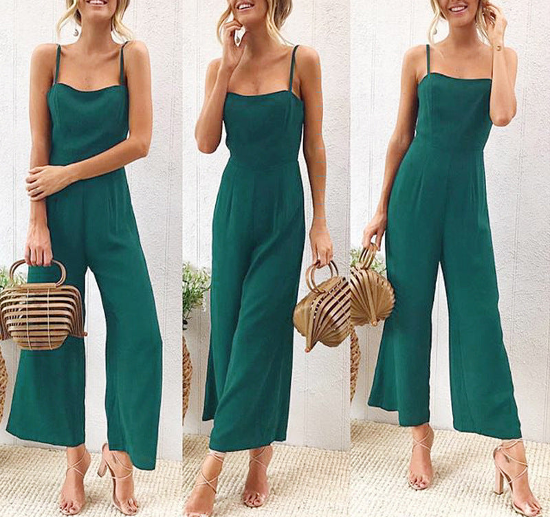 Solid Color Sexy Strap Jumpsuit - lolabuy