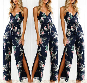 Sexy Sling Side Split Fashion Printed Jumpsuit - lolabuy