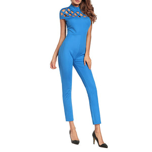 Short-Sleeved Hollow Sexy Jumpsuit - lolabuy