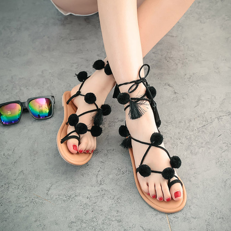 Bohemia Bandage Colorful Ball Beach Flat Sandals
