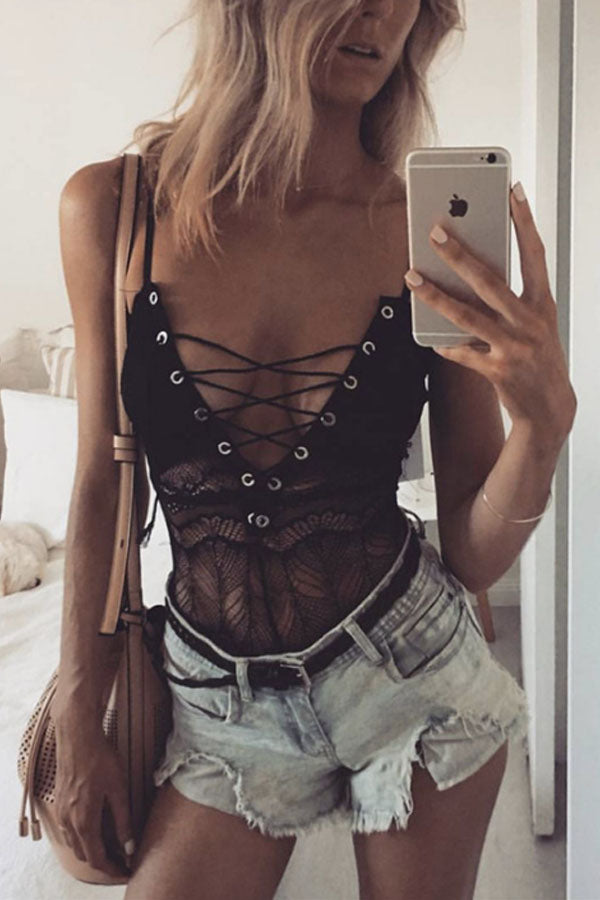 Spaghetti Strap  Lace Up See Through  Hollow Out Plain Teddy - lolabuy