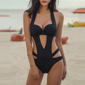 Black Sexy Charming Straps One-Piece Swimwear - lolabuy
