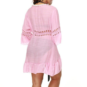 Pink Sexy Hollow Beach Dress - lolabuy