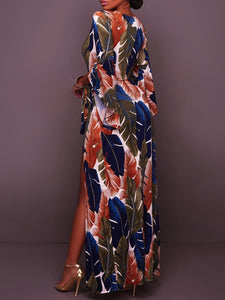 Surplice  Belt  Printed  Polyester Maxi Dress - lolabuy