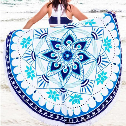 Blue Floral Beach Towel - lolabuy
